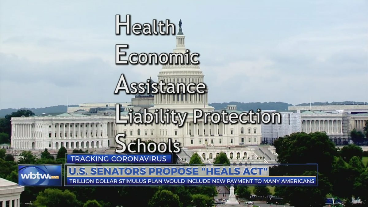 """an image of the US capitol building with the acronym """"HEALS Act: Health, Economics Assistance, liability protection, schools"""" in front of the image"""