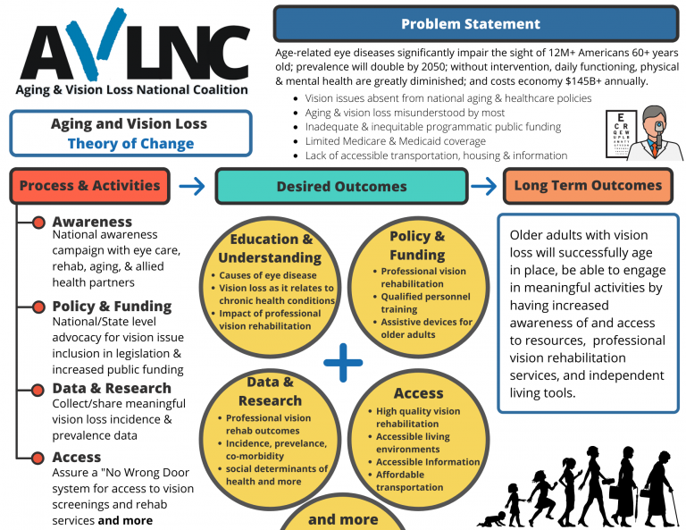Aging and Vision Loss Theory of change graphic